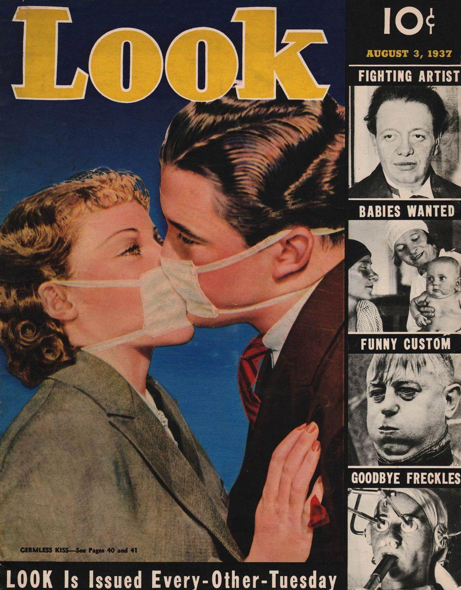 Чтобы обмануть грипп, вовремя эпидемии 1937 года поцелуи изфильмов репетировали под антисептическими масками / Стэнли Морнер иБетти Фернесс репетируют любовную сцену вмасках, 1937 год, обложка журнала Look